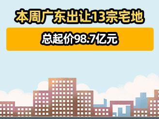 本周广东出让13宗宅地 总起价98.7亿元